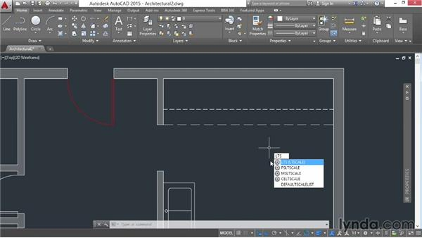 Changing linetype scale: AutoCAD 2015 Essential Training