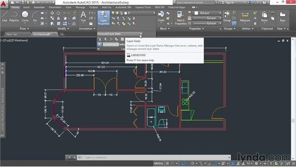 Saving and restoring layer states: AutoCAD 2015 Essential Training