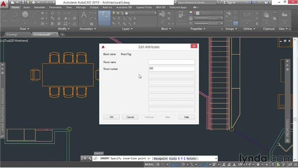 Defining a block with attributes: AutoCAD 2015 Essential Training