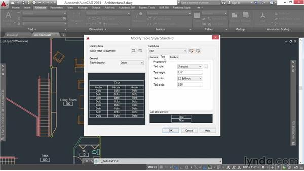 Styling a table's title text: AutoCAD 2015 Essential Training