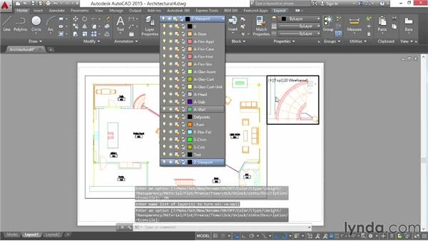 Freezing viewport layers: AutoCAD 2015 Essential Training
