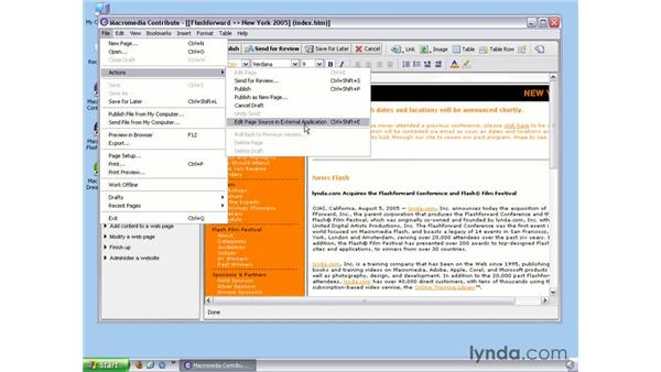 Editing Web pages in an external application: Contribute 3 Essential Training