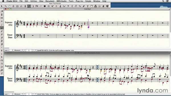 Using layers to notate polyphonic music: Finale 2014 Essential Training