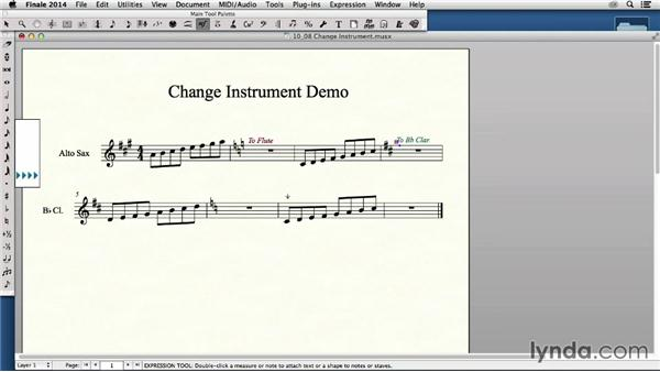 Using the Change Instrument function: Finale 2014 Essential Training