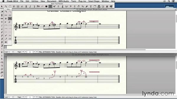 Adding bends, hammer-ons, pull-offs, and other Smart Shapes for stringed instruments: Finale 2014 Essential Training