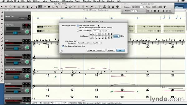 Adding audio to a Finale Score: Finale 2014 Essential Training