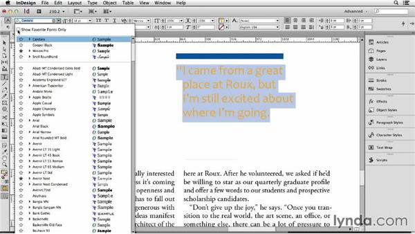 143 Finding the right font with InDesign's font menus: InDesign Secrets