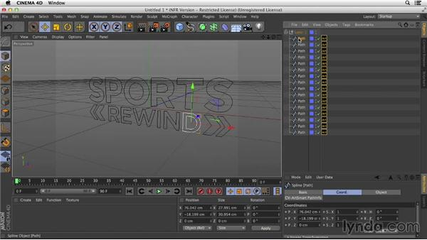 Importing the logo from Illustrator using ArtSmart 2 and Extrude Object: Motion Graphics Techniques: Creating a Sports Bumper