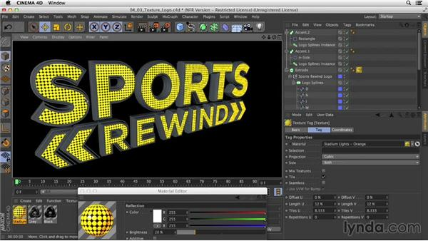 Adding LED texture to text caps: Motion Graphics Techniques: Creating a Sports Bumper