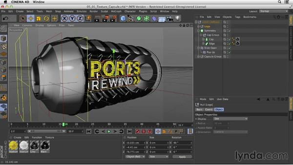 Texturing the capsule and animating the text: Motion Graphics Techniques: Creating a Sports Bumper