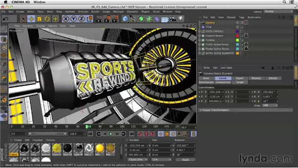 Adding and animating a camera: Motion Graphics Techniques: Creating a Sports Bumper