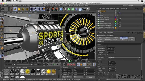 Adding an overhead light with bounce: Motion Graphics Techniques: Creating a Sports Bumper
