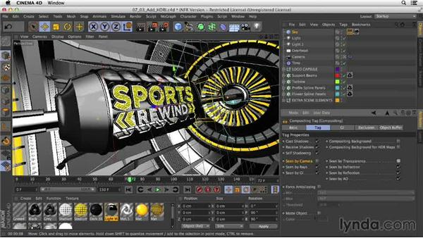 Adding an HDRI sky: Motion Graphics Techniques: Creating a Sports Bumper