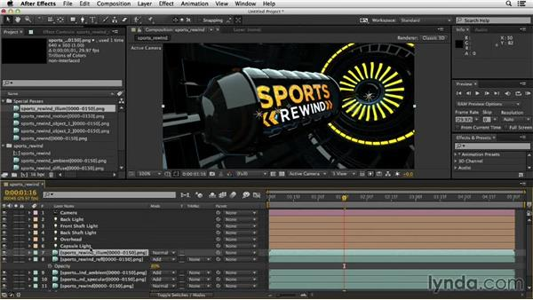 Importing assets and compositing passes in After Effects: Motion Graphics Techniques: Creating a Sports Bumper