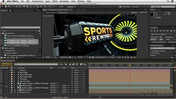Compositing object buffers: Motion Graphics Techniques: Creating a Sports Bumper