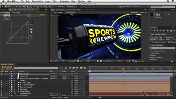 Color correcting the scene: Motion Graphics Techniques: Creating a Sports Bumper