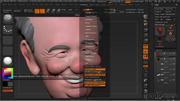 Reducing polygon count with Decimation Master: 3D Printing with ZBrush