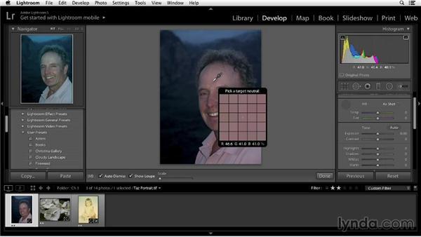Measuring skin tones: Color Correction in Lightroom