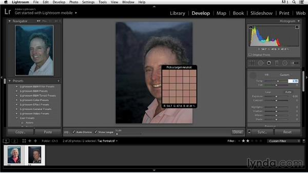 Correcting skin tones in a portrait: Color Correction in Lightroom
