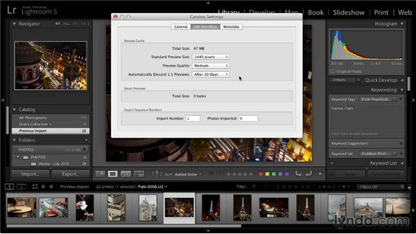 Catalog settings: Lightroom 5: 01 Organizing Your Photos