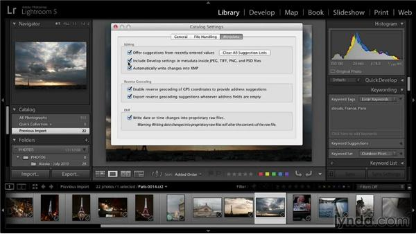 Writing metadata outside the catalog: Lightroom 5: 01 Organizing Your Photos