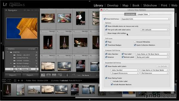 Grid view display options: Lightroom 5: 01 Organizing Your Photos