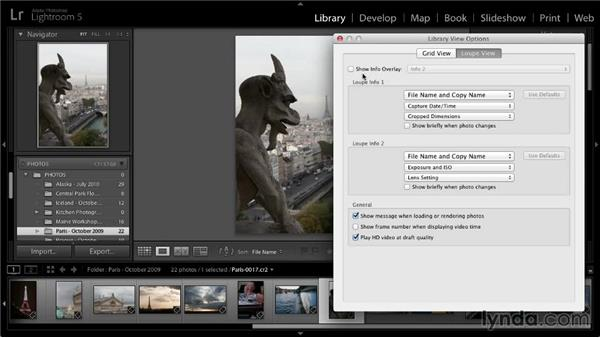 Loupe view display options: Lightroom 5: 01 Organizing Your Photos