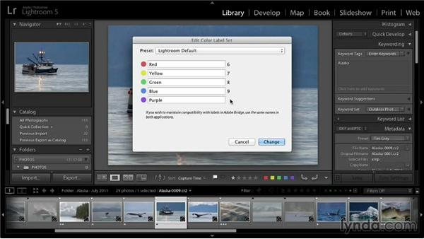 Using color labels to identify images: Lightroom 5: 01 Organizing Your Photos