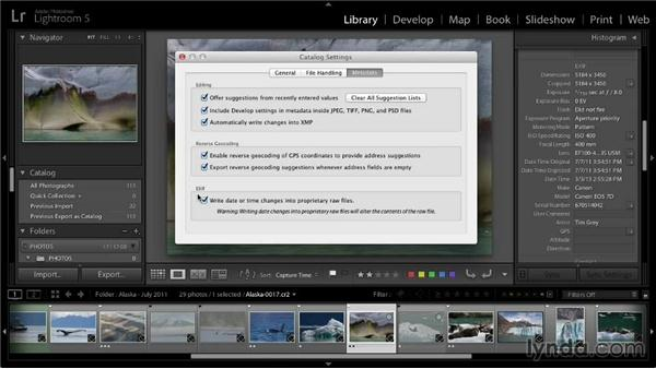 Correcting capture time: Lightroom 5: 01 Organizing Your Photos