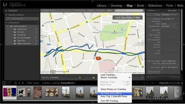 Using a track log to add location information: Lightroom 5: 01 Organizing Your Photos