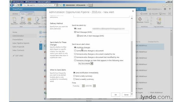 Setting alerts: Managing Documents with SharePoint 2013