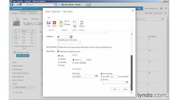Adding and using a Calendar app: Managing Documents with SharePoint 2013