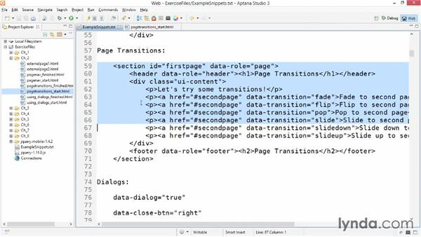 Using page transitions: jQuery Mobile Essential Training
