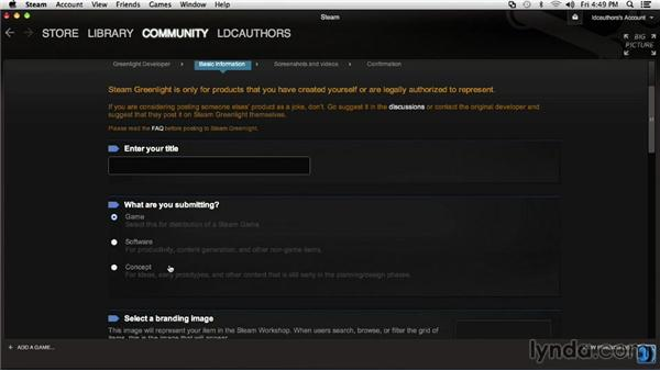 Creating a submission profile for Steam Greenlight: SteamOS for Developers First Look