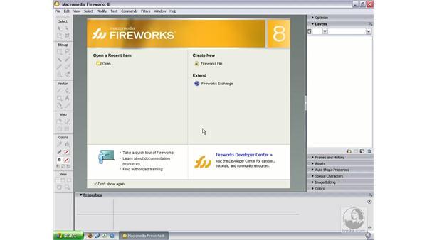 The default workspace (Windows): Fireworks 8 Essential Training