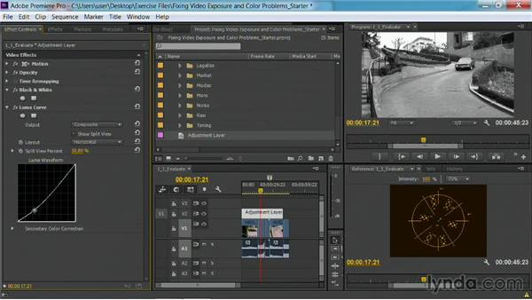Using adjustment layers: Fixing Video Exposure Problems in Premiere Pro CC