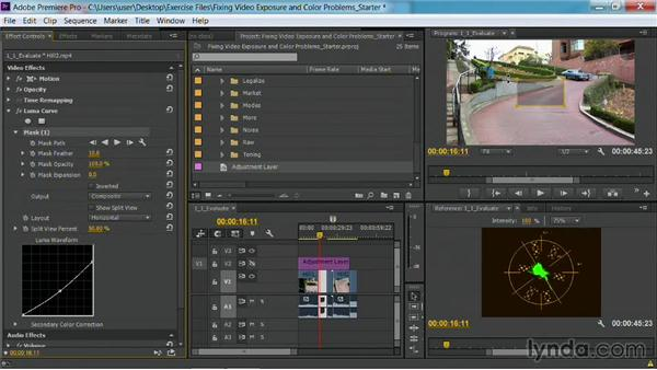 Adding masks: Fixing Video Exposure Problems in Premiere Pro CC