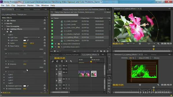Relighting a scene with the Lighting Effects effect: Fixing Video Exposure Problems in Premiere Pro CC