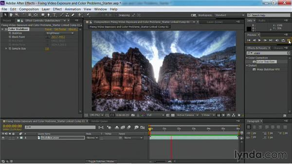 Stabilizing exposure with the Color Stabilizer effect in After Effects: Fixing Video Exposure Problems in Premiere Pro CC