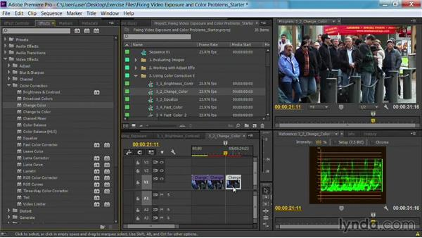 The Change Color effect and Change To Color effect: Fixing Video Exposure Problems in Premiere Pro CC