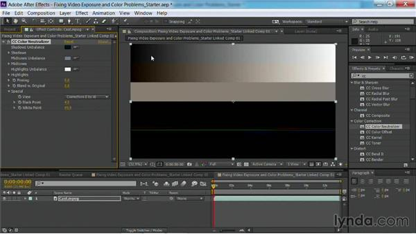 Neutralizing color with the CC Color Neutralizer in After Effects: Fixing Video Exposure Problems in Premiere Pro CC