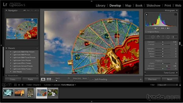 Boosting colors with Vibrance and Saturation: Lightroom 5: 02 Optimizing Your Photos