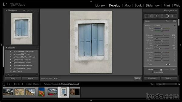 Applying a radial adjustment: Lightroom 5: 02 Optimizing Your Photos