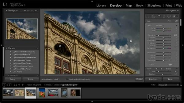 Painting adjustments into an image: Lightroom 5: 02 Optimizing Your Photos