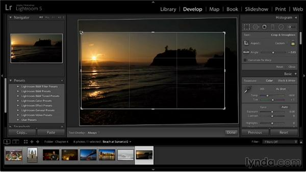 Cropping and straightening photos: Lightroom 5: 02 Optimizing Your Photos