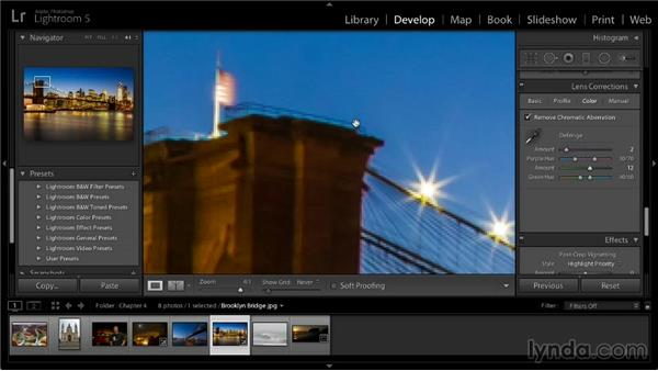 Removing chromatic aberrations: Lightroom 5: 02 Optimizing Your Photos