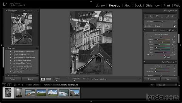 Converting to black and white: Lightroom 5: 02 Optimizing Your Photos