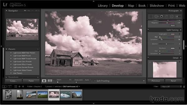 Adding a color tint: Lightroom 5: 02 Optimizing Your Photos