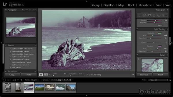Split-toning effects: Lightroom 5: 02 Optimizing Your Photos