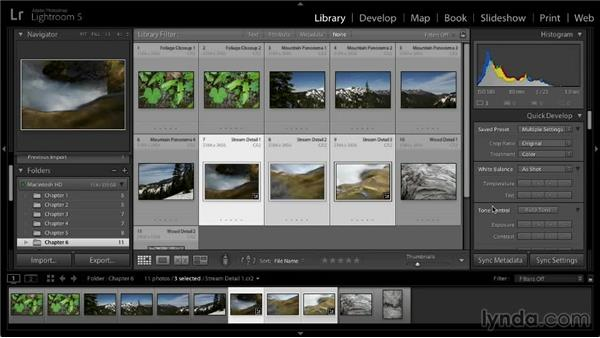 Adjusting multiple images with Quick Develop: Lightroom 5: 02 Optimizing Your Photos